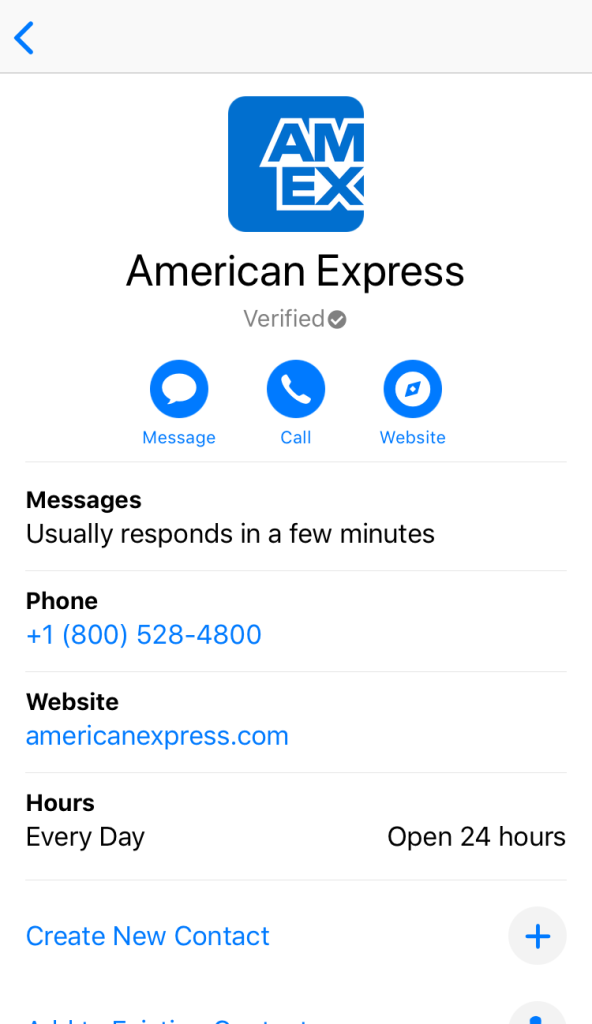 The contact information screen shows that the Apple Business Chat provider is verified by Apple. It also hows how quickly they usually respond, business hours, and other ways to reach them like phone and web.
